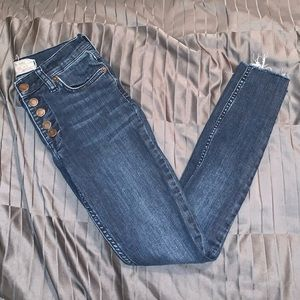 Free People Skinny Jeans Button Front Size 25